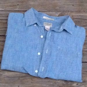 LL Bean Slightly Fitted L Chambray Shirt